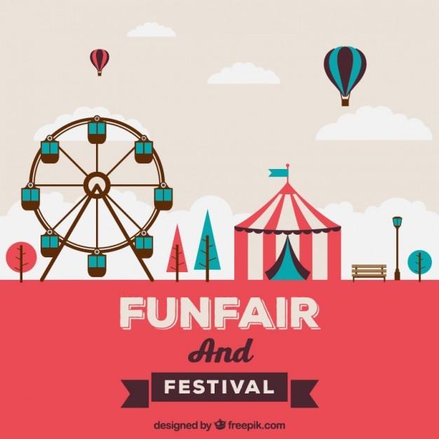Funfair in flat design Free Vector