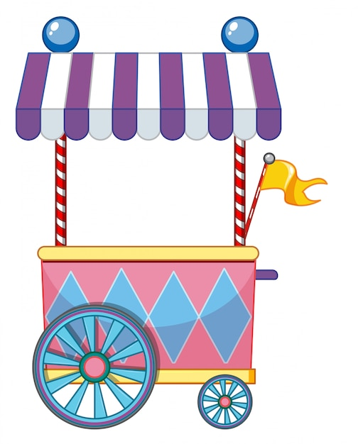 Funfair with yellow flag Free Vector