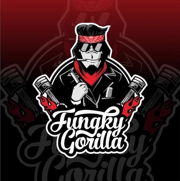Fungky gorilla biker esport logo Premium Vector