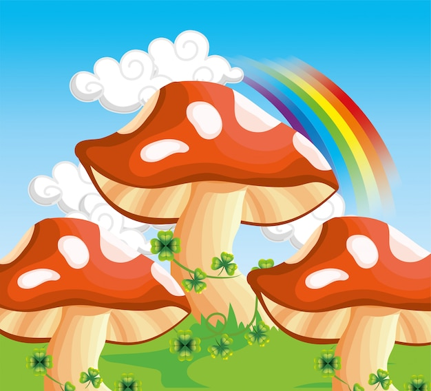 Fungus with clovers plants and rainbow in the clouds Premium Vector