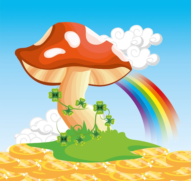 Fungus with clovers plants and rainbow with coins Premium Vector