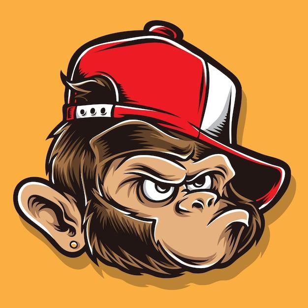 Funky ape cartoon head Premium Vector