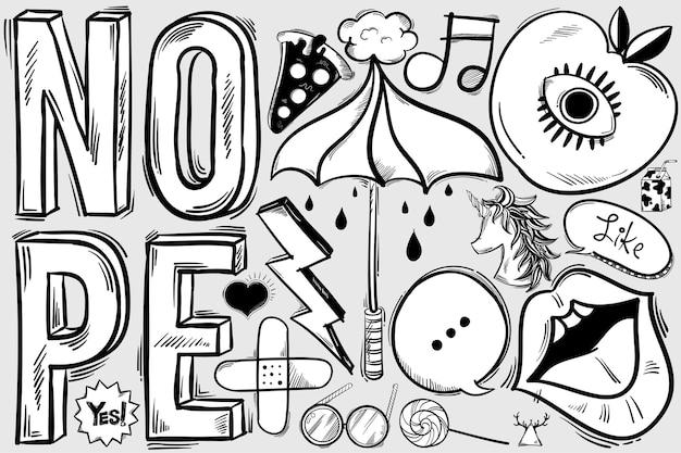 Funky doodle disegnato a mano Vettore gratuito