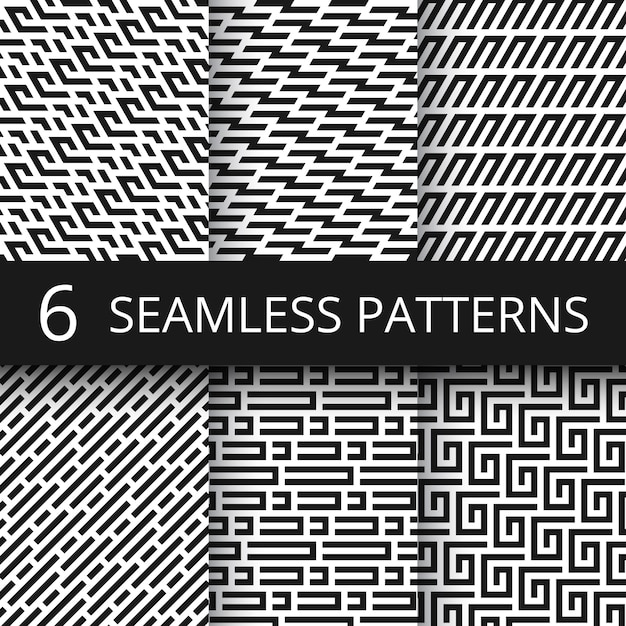 Funky line geometric vector seamless patterns. striped repeat vector textures with optical illusion effect Premium Vector