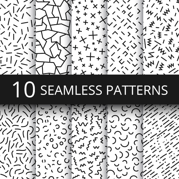 Funky memphis seamless vector patterns  80s and 90s school