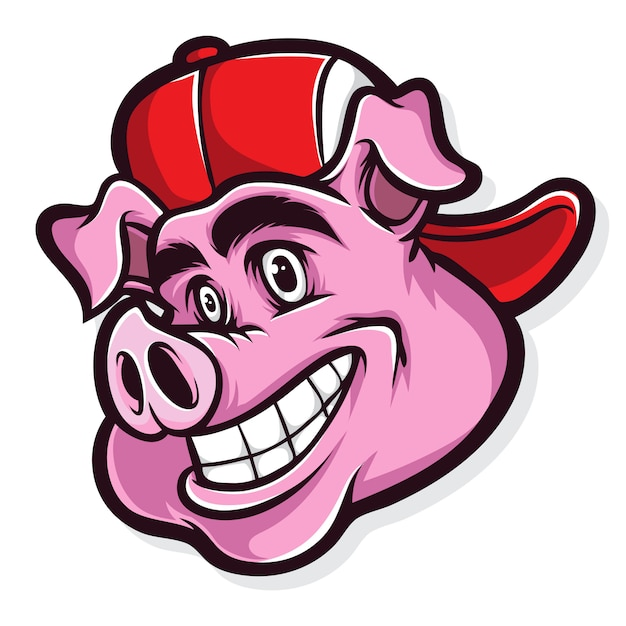 Funky pig cartoon Premium Vector