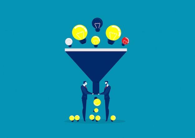 Funnel big data flat style concept.   light bulb illustration of idea filter. data analysis. Premium Vector