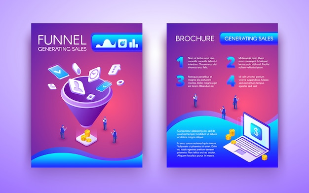 Funnel generating sales business brochure, flyer isometric template in vibrant Free Vector