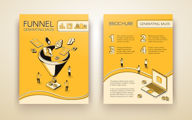 Funnel generating sales, business marketing brochure, poster or booklet Free Vector