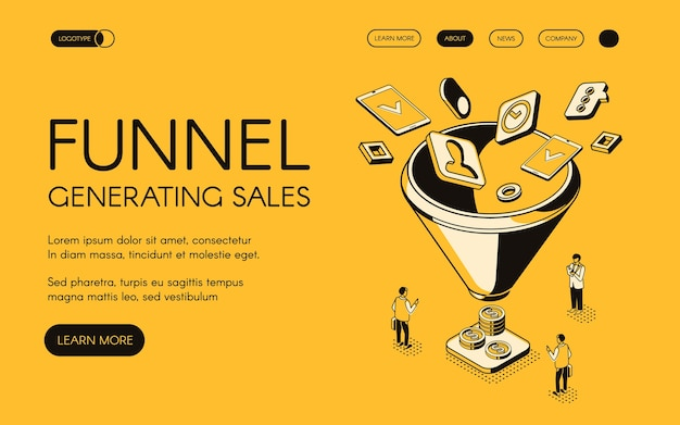 Funnel generating sales illustration for digital marketing and e-business technology. Free Vector