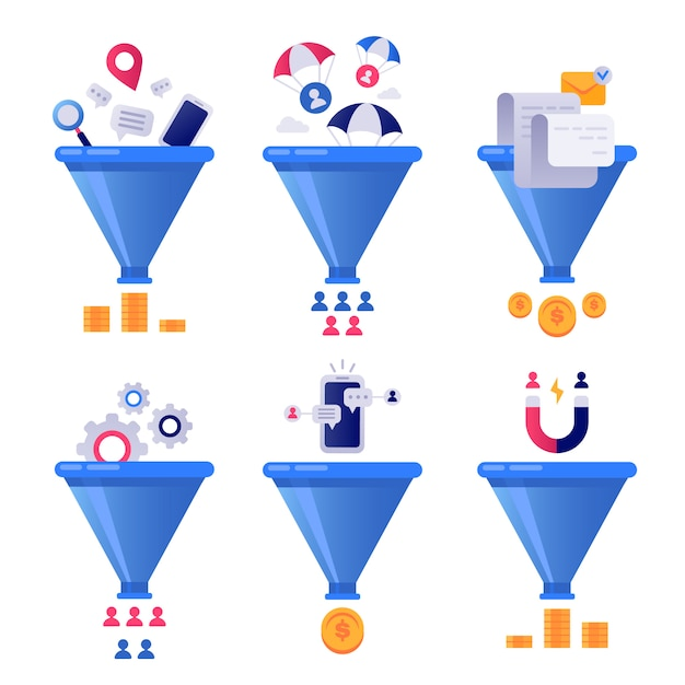 Funnel generation sales. business lead generations, mail sorter funnels and pipeline sale optimisation   set Premium Vector