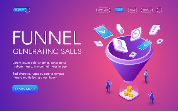 Funnel generation sales illustration for digital marketing and e-business technology Free Vector