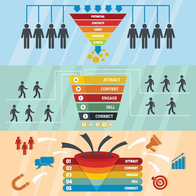 Funnel sale backgrounds Premium Vector