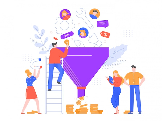 Funnel sales analyzing. lead generation, marketing funnel and selling strategy illustration. advertising system, customer oriented business. professional marketers team cartoon characters Premium Vector