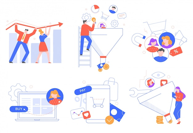 Funnel sales generation. customers attraction, marketing leads buyer. customer acquisition and conversion illustration set. sale optimization and product promotion. media marketing strategy Premium Vector