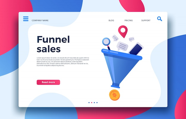 Funnel sales. landing page business marketing sales generation, buyer conversion and money profit generations Premium Vector