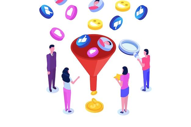 Funnel sales,  lead generation, online or permission marketing,  conversion rate optimization. Premium Vector