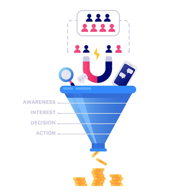 Funnel sales . marketing infographic, sale conversion and lead sales pipeline isolated illustration Premium Vector