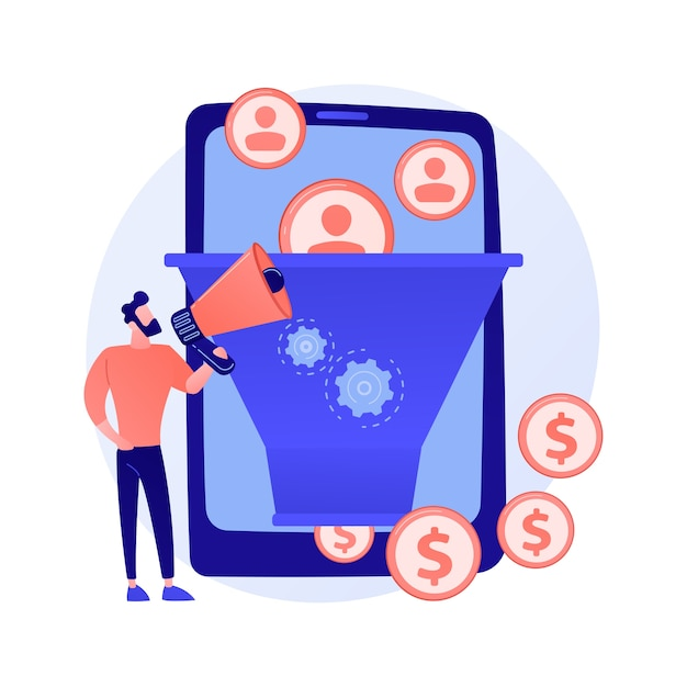 Funnel sales strategy. profit monetization. target audience, lead generation. conversion marketing. marketologist cartoon character. online business concept illustration Free Vector