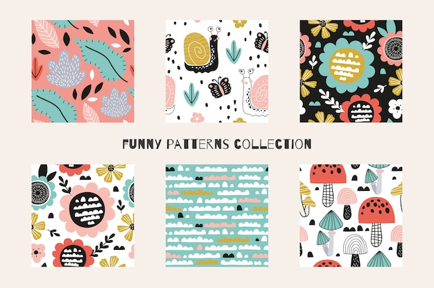 Funny abstract cartoon spring and summer time seamless patterns collection. hand drawn surface design illustrations. Premium Vector