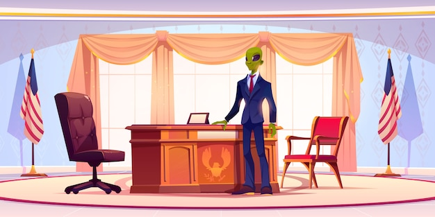 Funny alien business man or president in office Free Vector