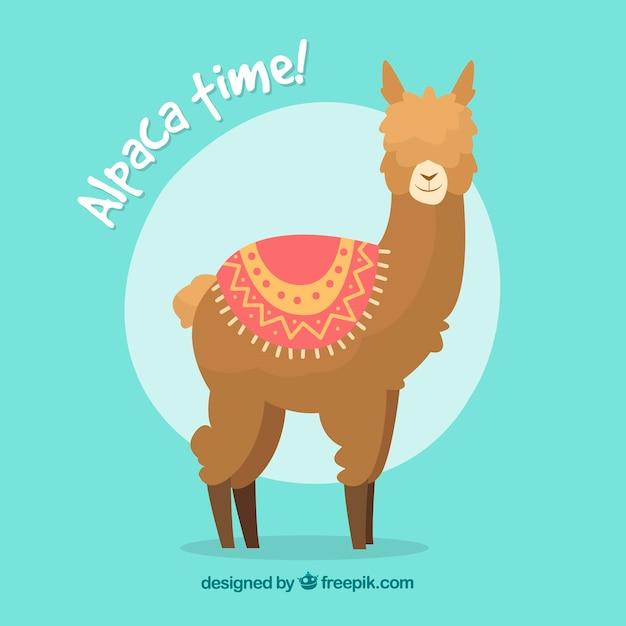 Funny alpaca background Free Vector