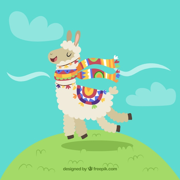 Sfondo divertente alpaca Vettore gratuito