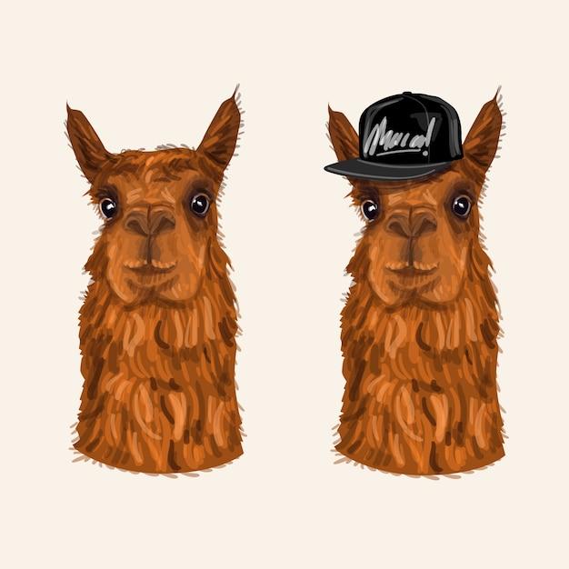 Funny alpaca character illustration Vector | Premium Download