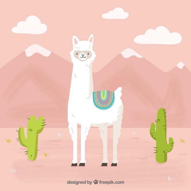 Funny alpaca mountain background Free Vector