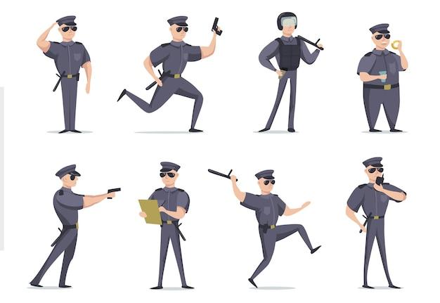 다른 포즈 평면 항목 세트에 재미있는 미국 경찰관 무료 벡터