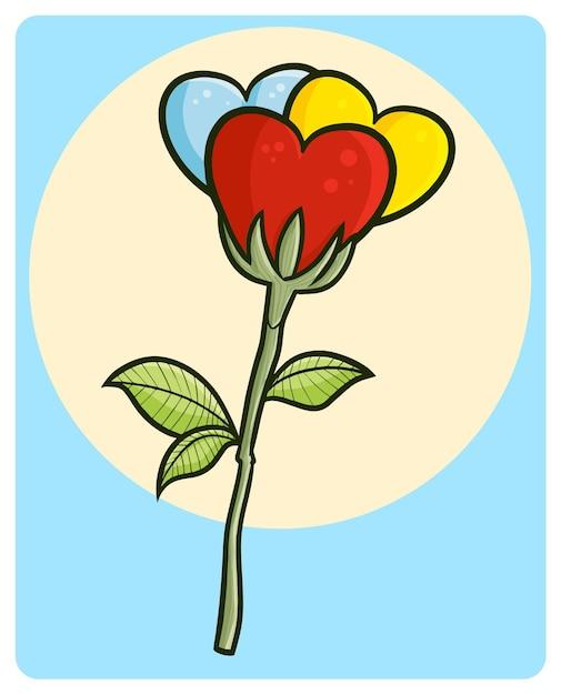 Забавный и красивый трехцветный цветок любви в стиле каракули Premium векторы
