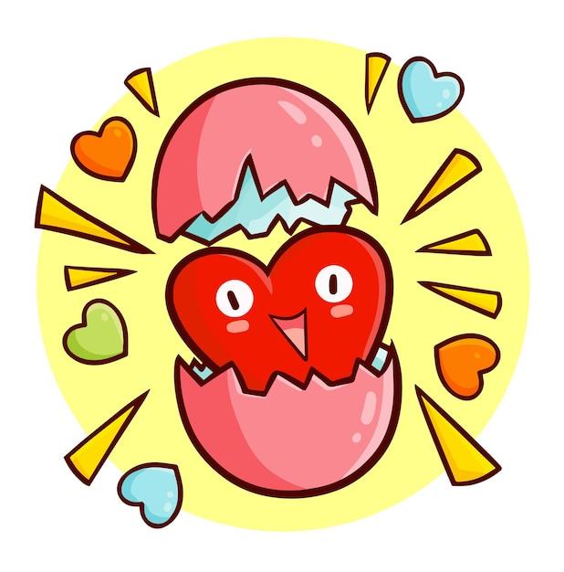Забавный и милый талисман сердца выходит из яйца в стиле каракули каваи Premium векторы