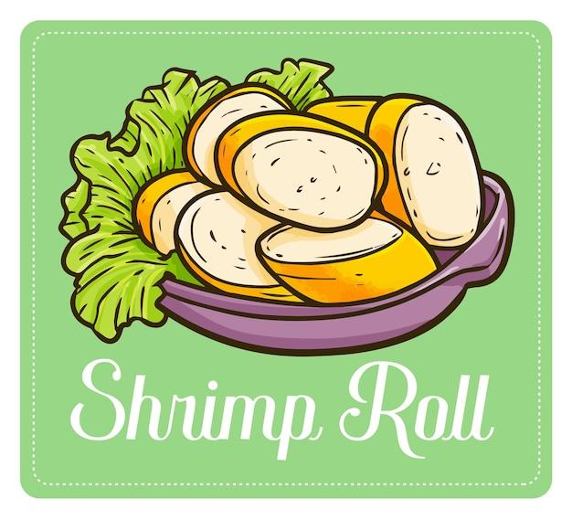 Веселый и милый аппетитный ролл с креветками Premium векторы