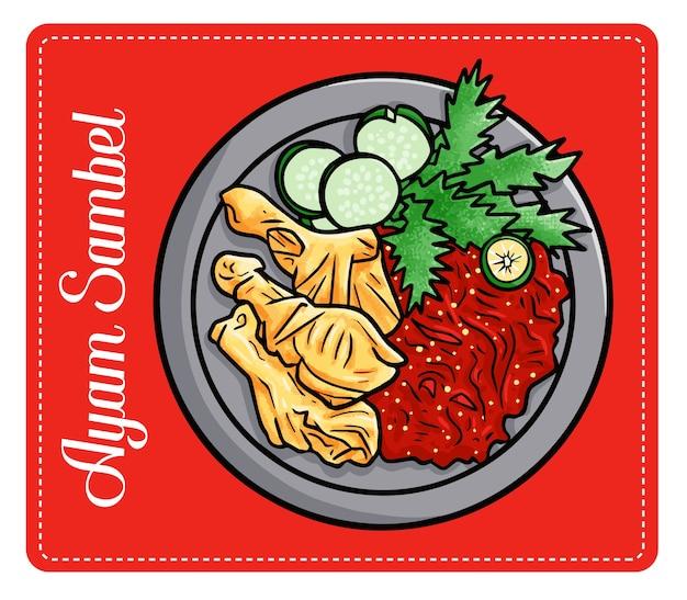 Веселая и вкусная и вкусная «аям самбел», традиционная индонезийская еда. приготовлено из жареной курицы и перца чили. Premium векторы