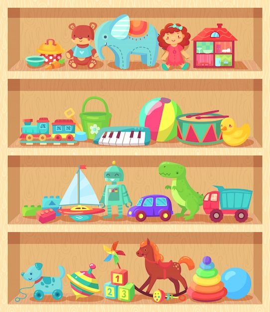 Funny animal baby piano constructor girl doll and ball robot plush bear vintage elements for child joy Premium Vector