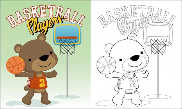 Funny Animal Basketball Player Cartoon Premium Vector