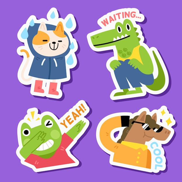 Funny animal sticker set in hand drawn Free Vector