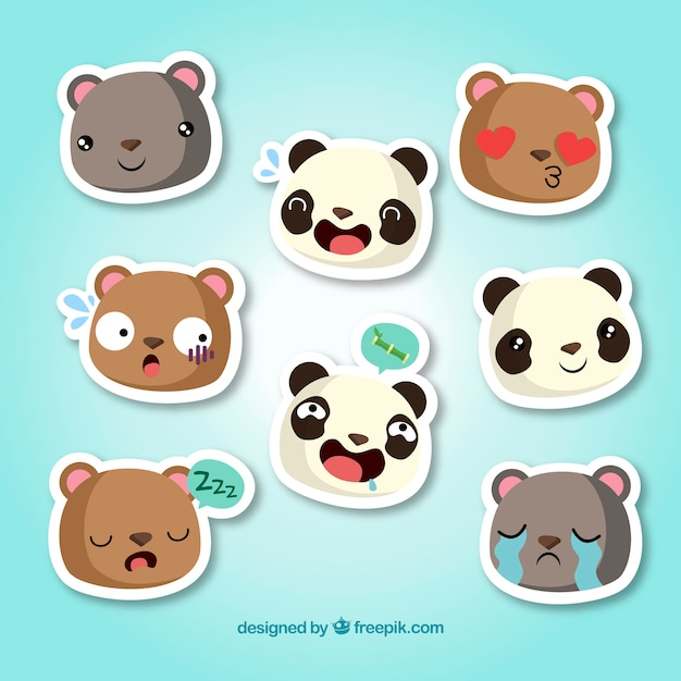 Funny animal stickers collection free vector