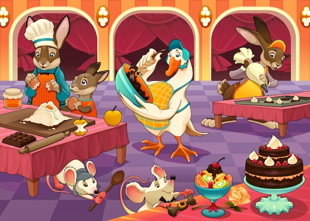 Funny animals are cooking cakes and cookies\ vector cartoon illustration
