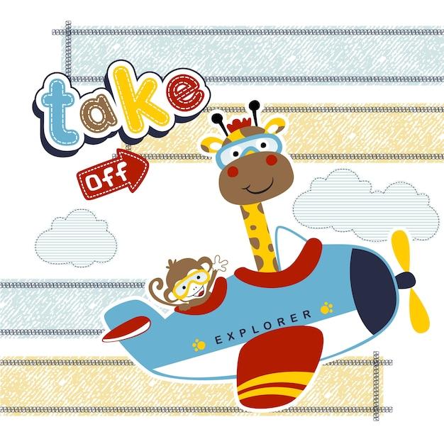 Смешные животные мультфильм на маленьком самолете Premium векторы