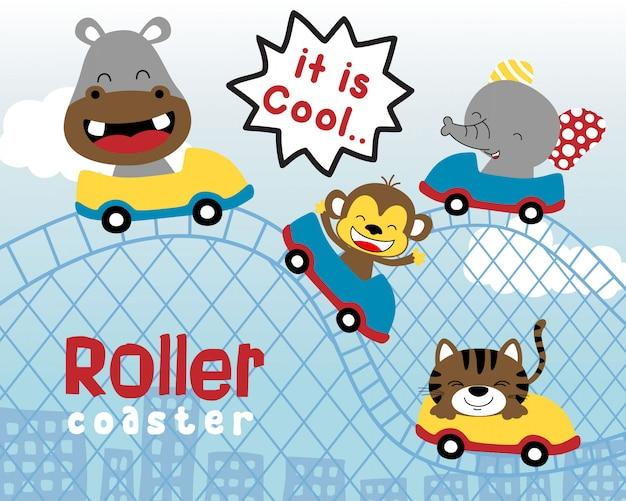 Funny animals cartoon on roller coaster Premium Vector