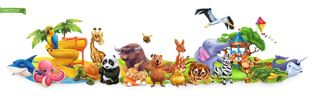 Funny animals. cartoon set Premium Vector