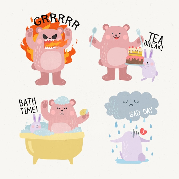 Funny animals doing various activities hand drawn stickers Free Vector
