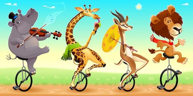 Забавные дикие животные на unicycles векторные иллюстрации мультфильм Бесплатные векторы