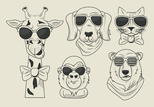 Funny animals with sunglasses cool style Premium Vector