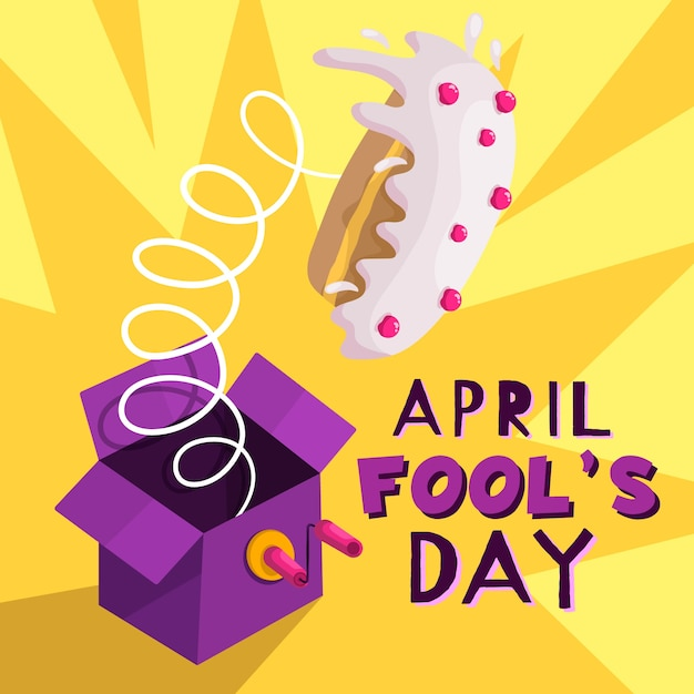 Funny april fool's day and cake on spring Free Vector