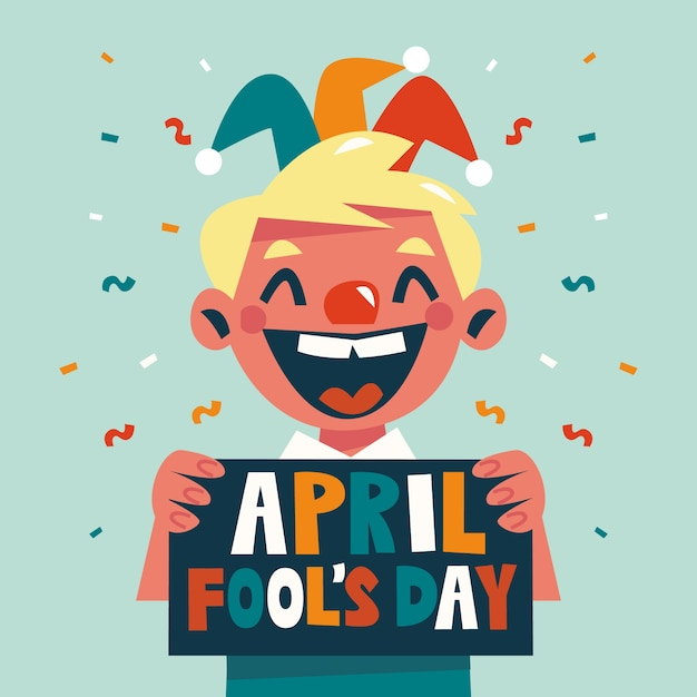 Funny april fool's day and laughing child Free Vector