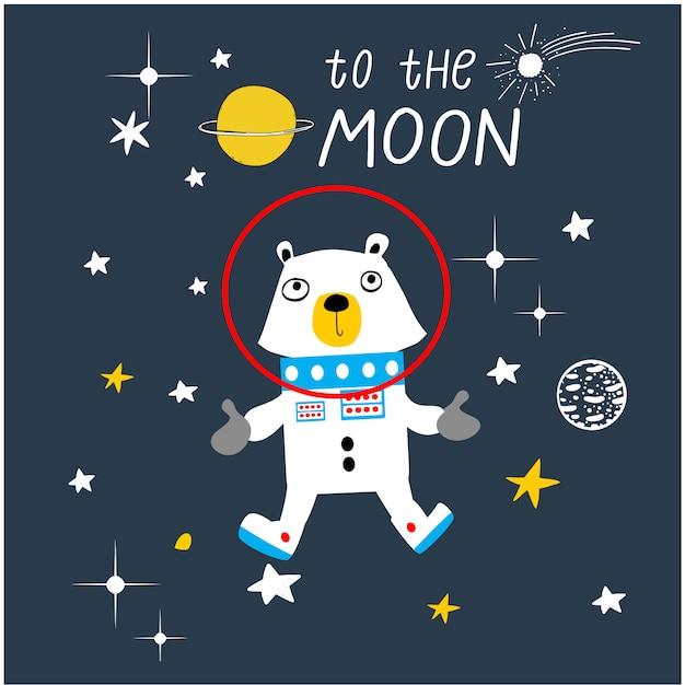 Funny astronaut animal cartoon vector Premium Vector