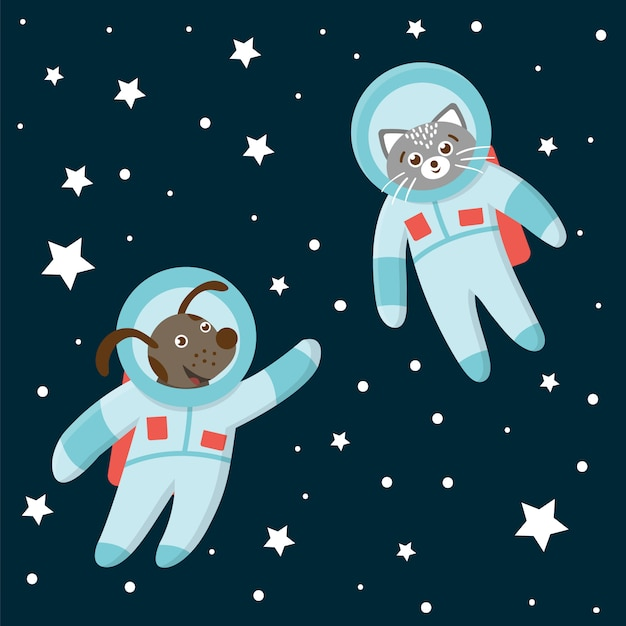Funny astronaut cat and dog in space with planets and stars. cute cosmic illustration for children on blue background Premium Vector