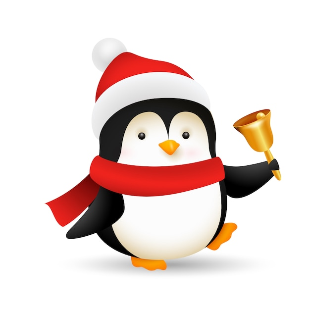 Funny baby penguin ringing bell Free Vector